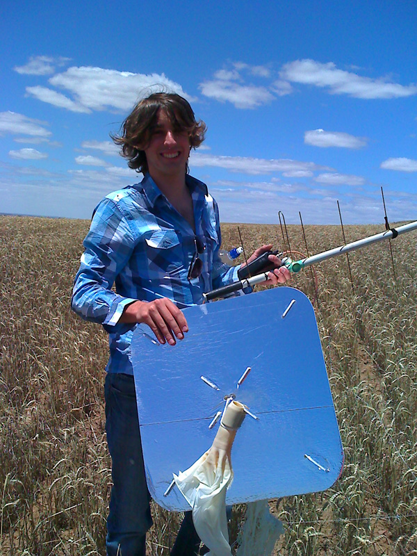 Yours truly with the recovered radiosonde